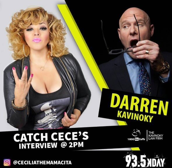 Cecilia The Mamacita and Darren Kavinoky 93.5 KDAY DUI Quiz