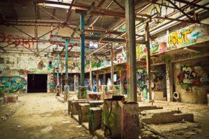 Warehouse with graffiti