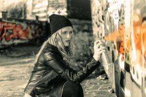woman spray painting